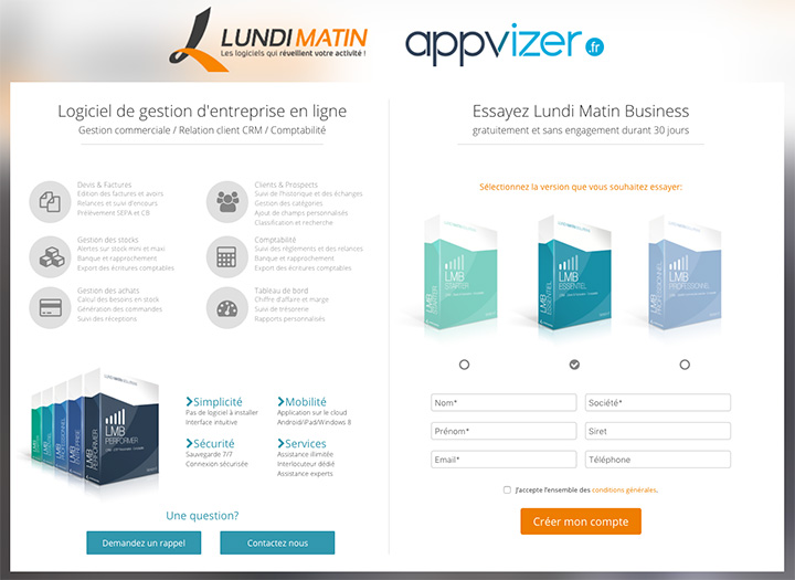 Exemple de landing page Lundi Matin Business